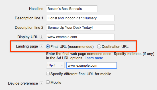 how to change the url in adwords