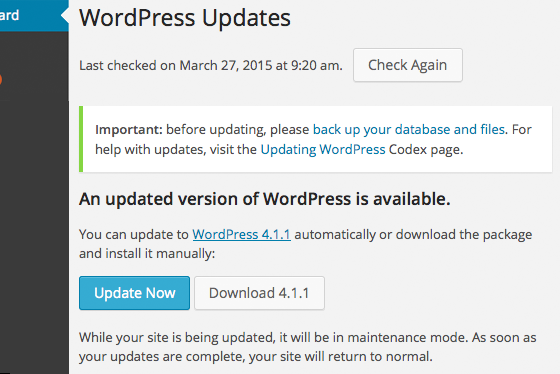 The WordPress update screen