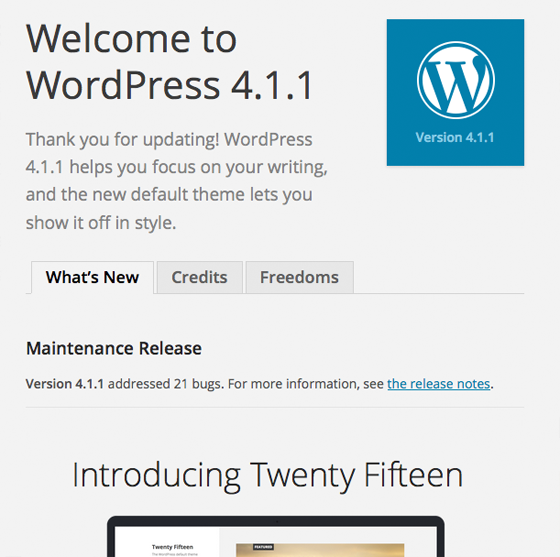 After a WordPress update has been applied