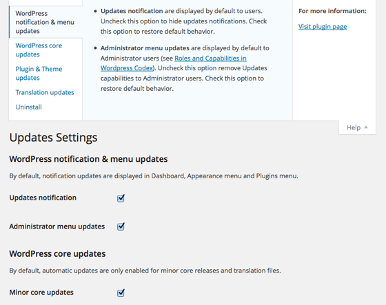 WP Updates Settings Plugin