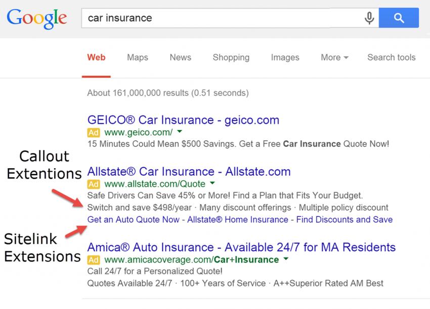 google adwords features list