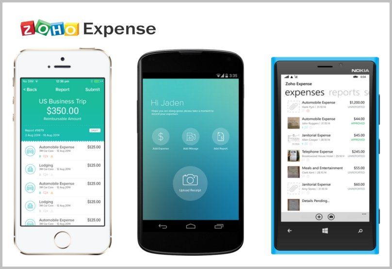 Zoho expense management mobile apps