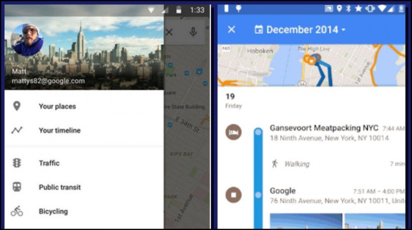 timeline from google maps