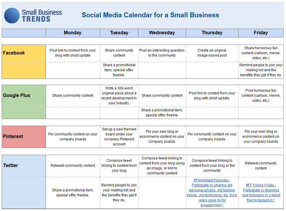 Corporate Calendar Template : Social media calendar template for small business