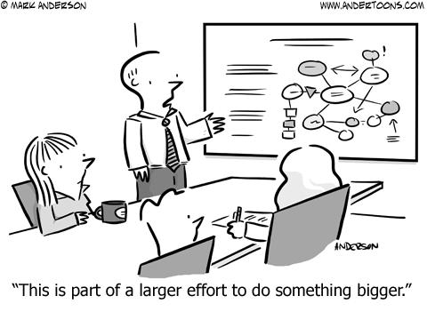 do something bigger business cartoon