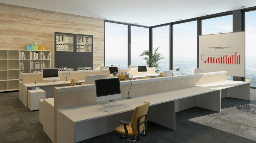 open floor office.  floor on open floor office r