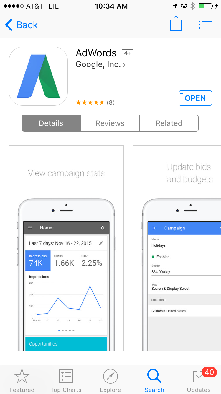 new adwords app for ios