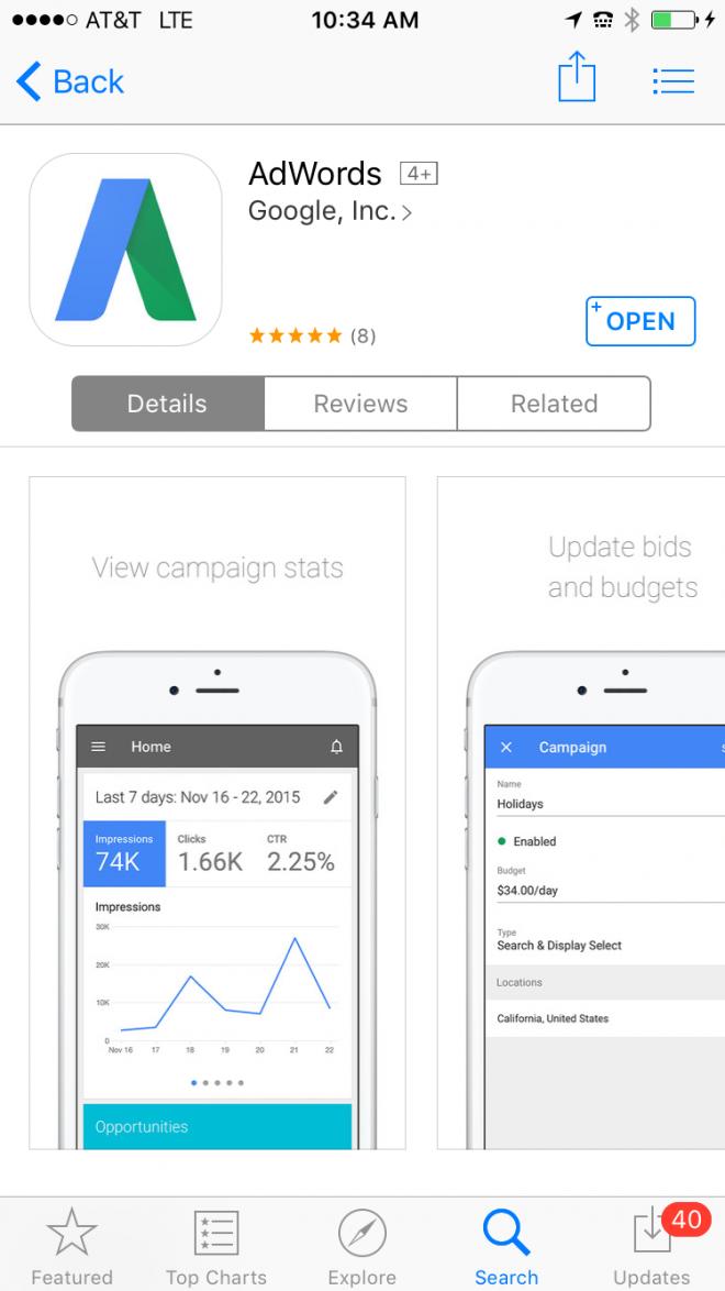 new adwords app for ios