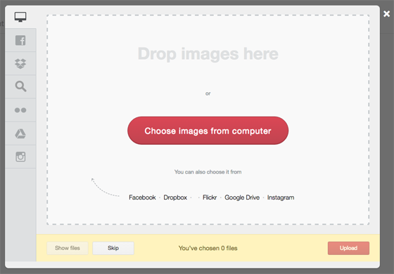 screenshot of drop image here from Viraltag