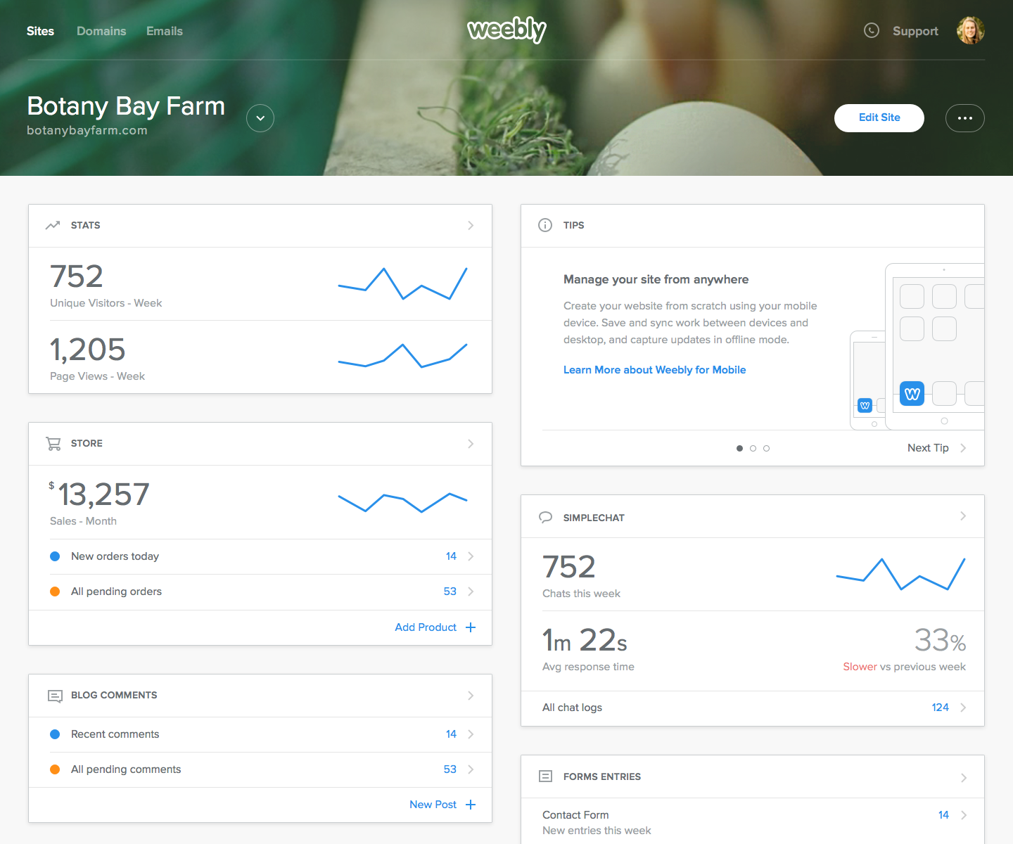 Administrative dashboard from weebly carbon