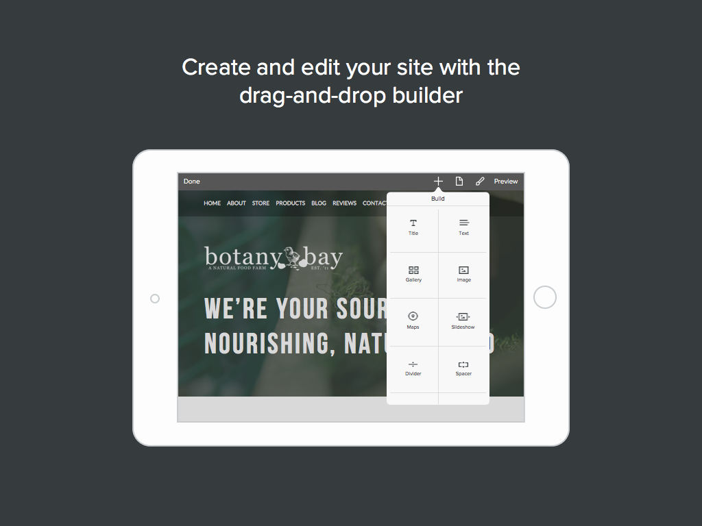Weebly carbon Mobile drag-and-drop editor