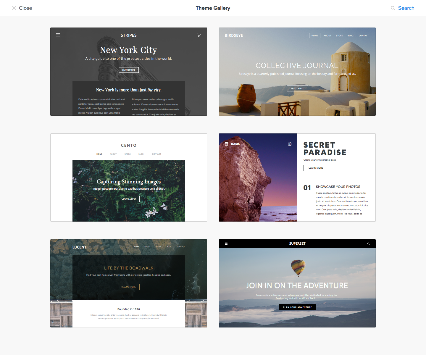 Theme gallery from weebly carbon