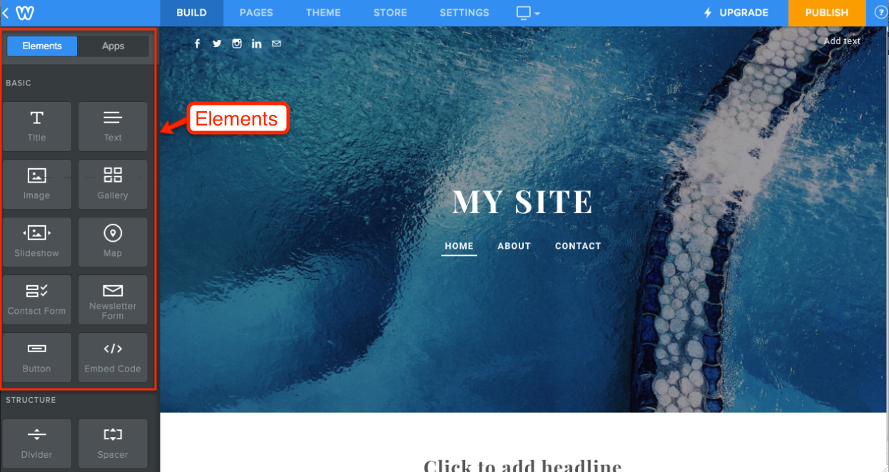 Weebly Editor Elements and Apps