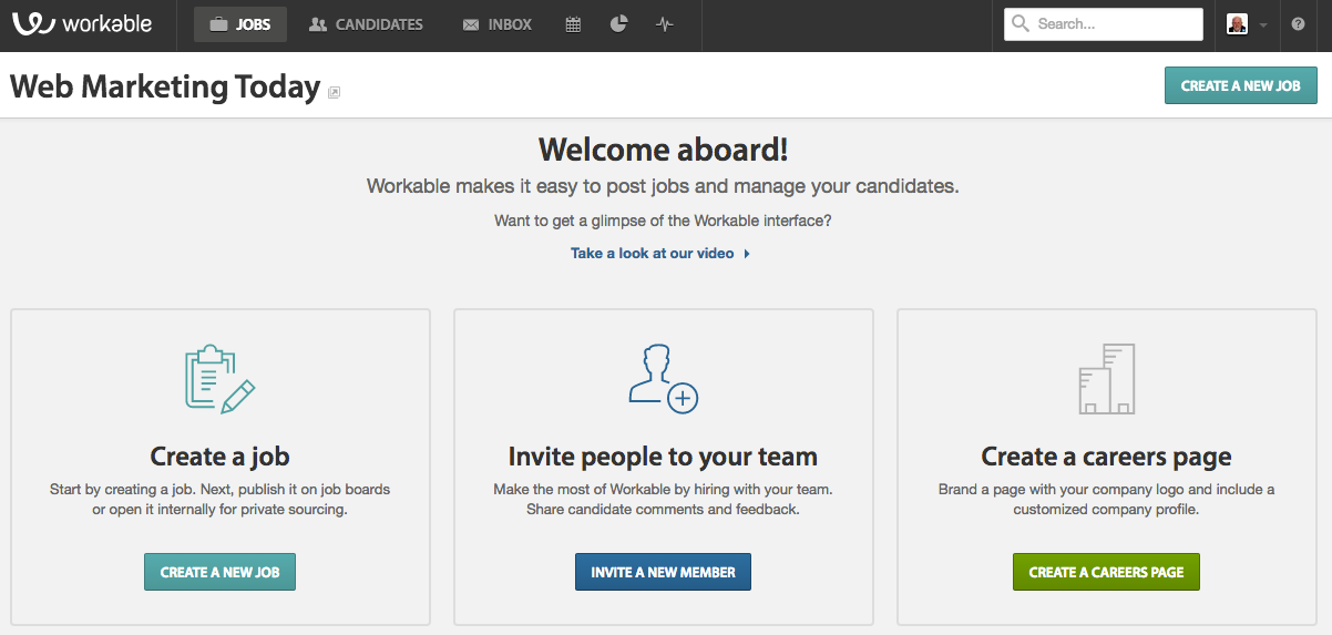 Workable human resource software jobs dashboard automates the hiring process