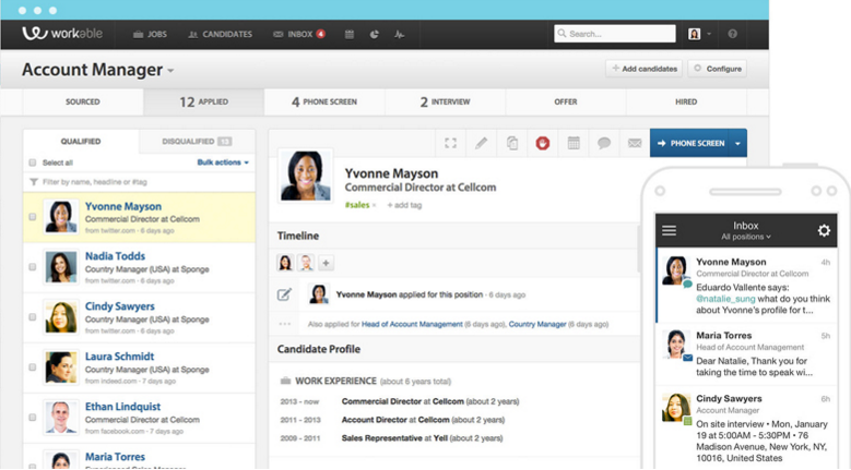 Workable Applicant Tracking System automates the hiring process