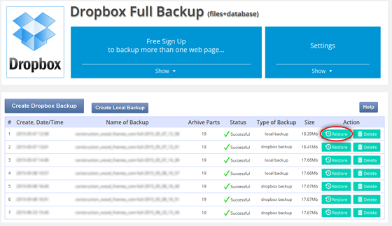Dropbox Backup & Restore WordPress Backup Plugins