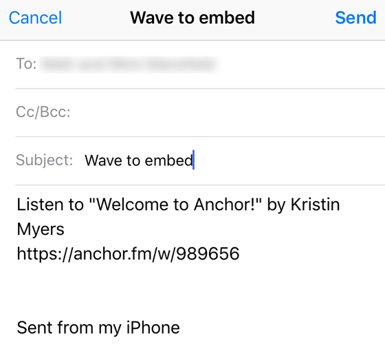 Anchor Audio App wave embed
