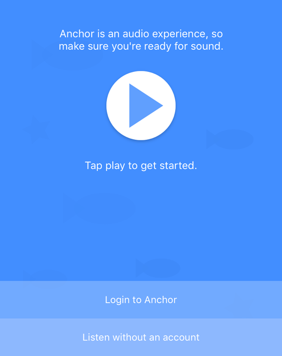 Anchor audio app play button