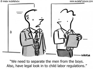 separate the men from the boys business cartoon