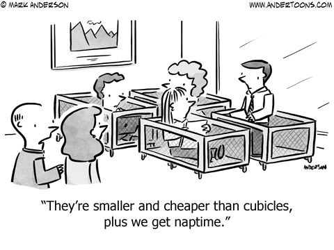 sleep pods business cartoon