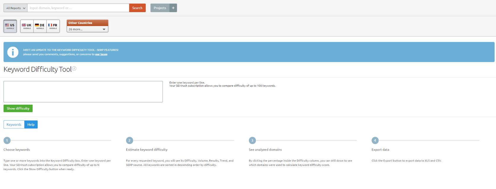 SEO keyword research tips: SEMRush's keyword difficulty tool