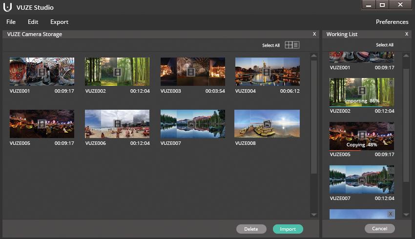 3D virtual reality camera Vuze studio software