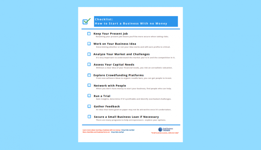 Checklist How To Start A Business With No Money Small Business Trends