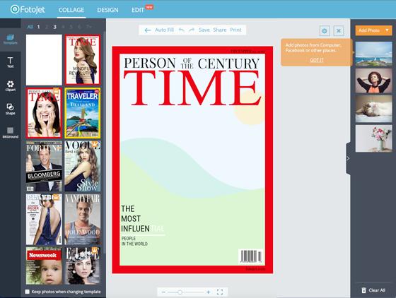 Free Image Creation Software, FotoJet - Magazine Cover Walkthrough - Step 2