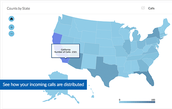 Business Call Analytics - Nextiva Analytics - Map View