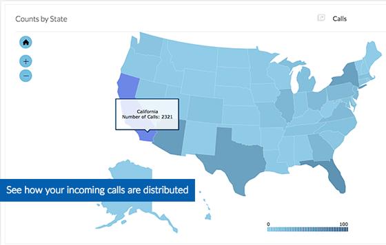 Business Call Analytics - Nextiva Analytics - Map View