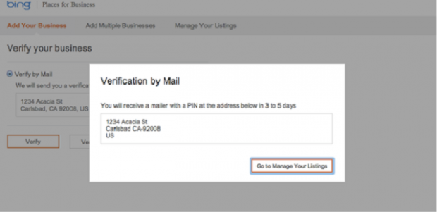 Bing business listing - Places - Verify Your Listing