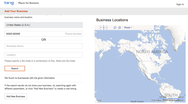 Bing business listing - Places - Add Your Business