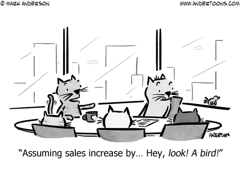Everyday Distractions Business Cartoon