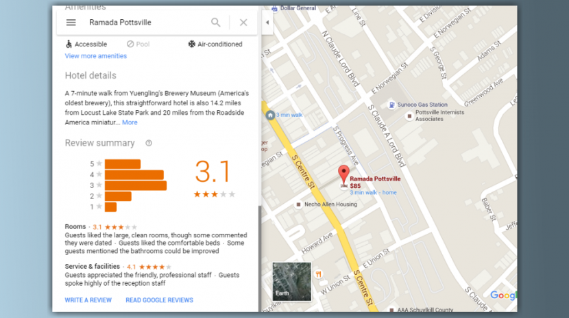 google hotel reviews
