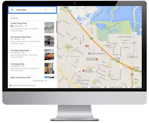 local search ads on Google Maps desktop