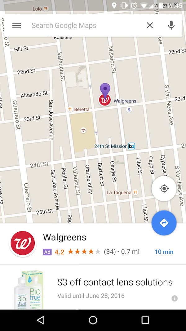 local search ads on Google Maps advertisement example