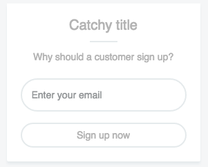 Ecommerce landing page - Add Email Form