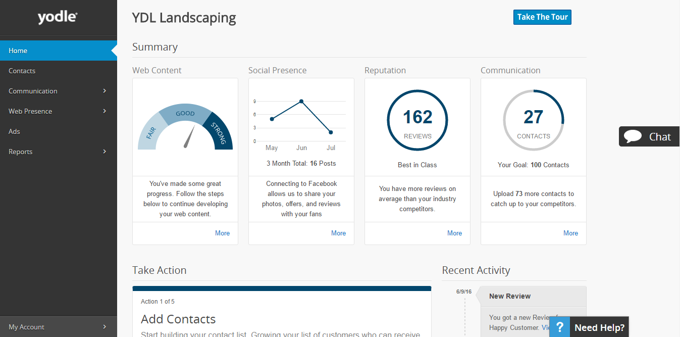 What Is Yodle - Marketing Essentials dashboard