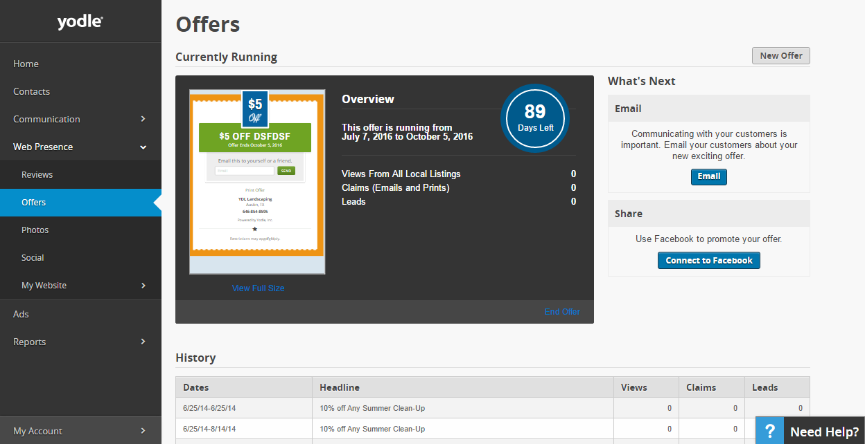 What Is Yodle - Special Offers Dashboard Component
