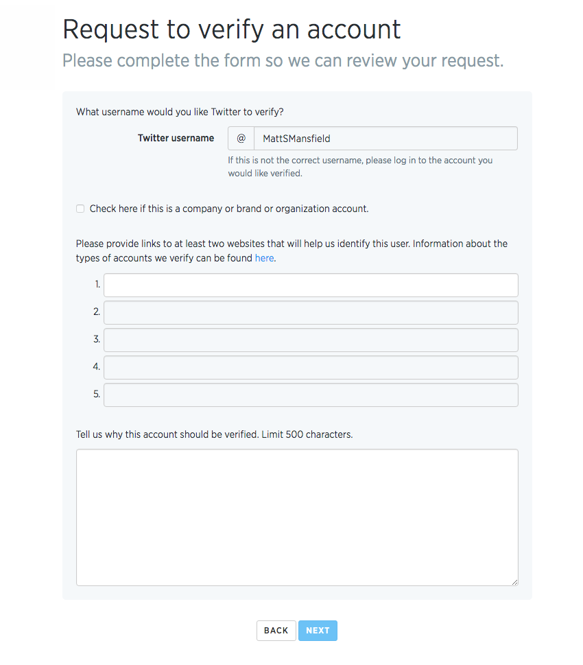 Verified Twitter Account Application Process - Step 4