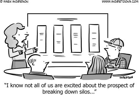 Breaking Down Silos Business Cartoon
