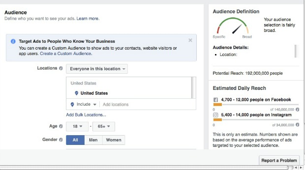 How to Make a Facebook Slideshow Ad - Select Your Audience