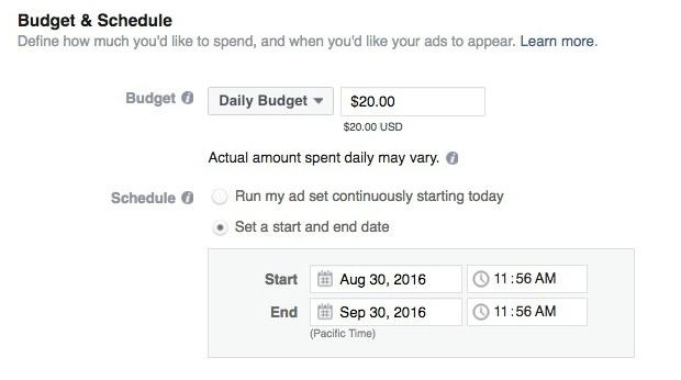 How to Make a Facebook Slideshow Ad - Set Your Budget