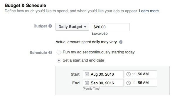 How to Make a Facebook Slideshow Ad - Set Your Budget