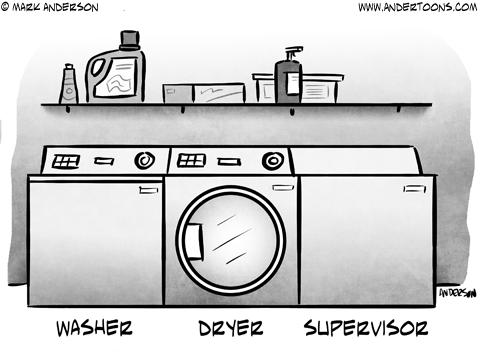 Managing Automation Business Cartoon