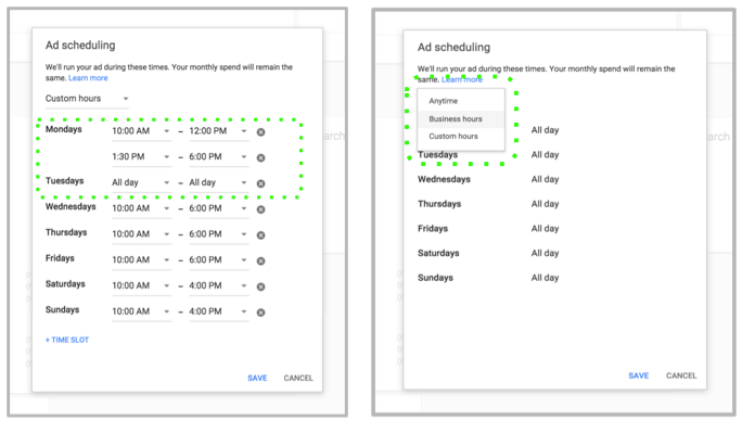 Google AdWords Express - Ad Campaign Scheduling