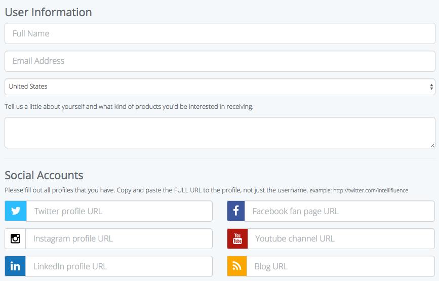 Influencer Outreach Solution - Intellifluence Influencer Profile Form