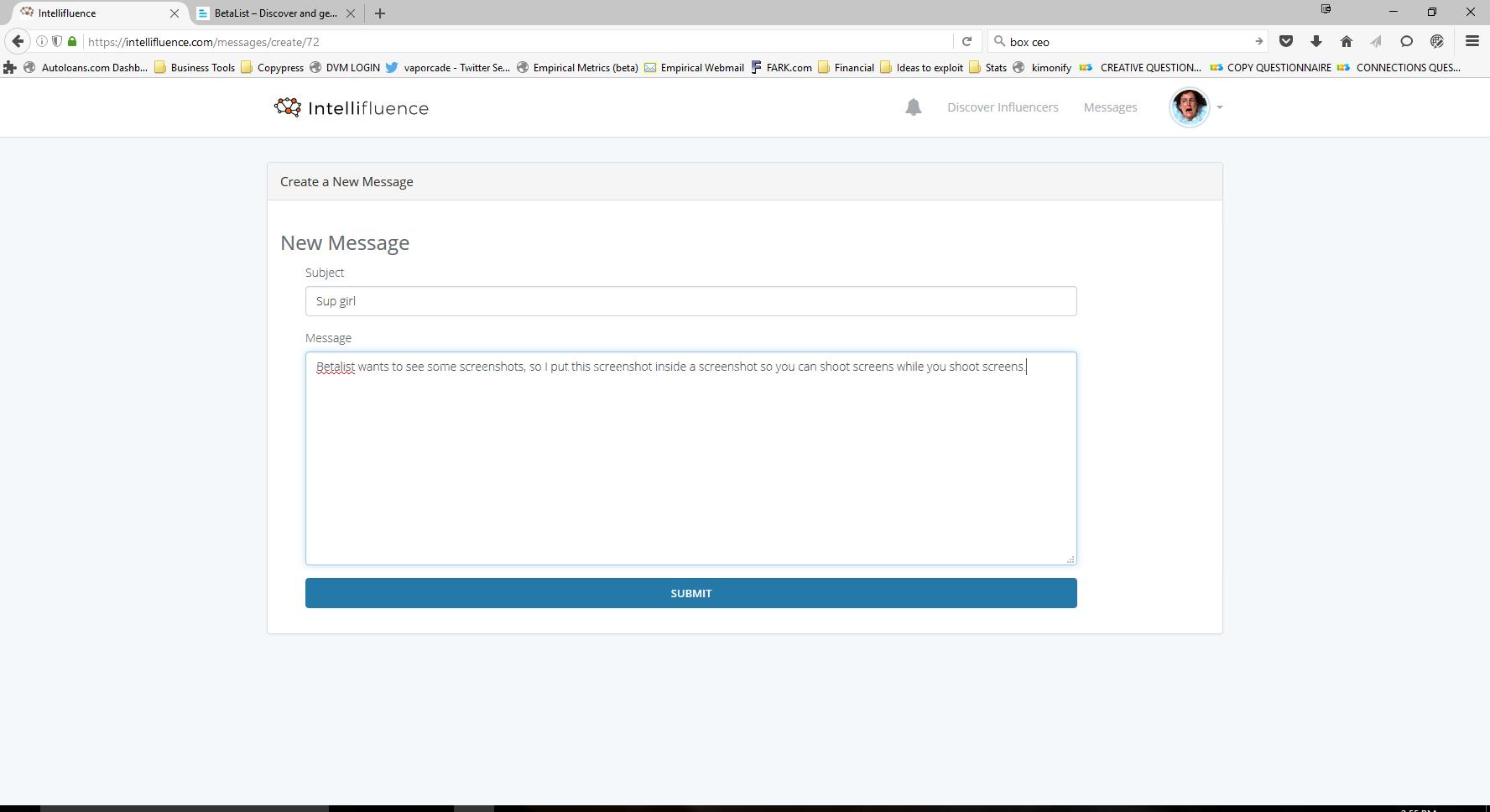 "Influencer Outreach Solution - Intellifluence ""Send a message to make an offer"" Form"