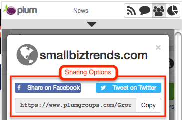 Plum social network sharing options