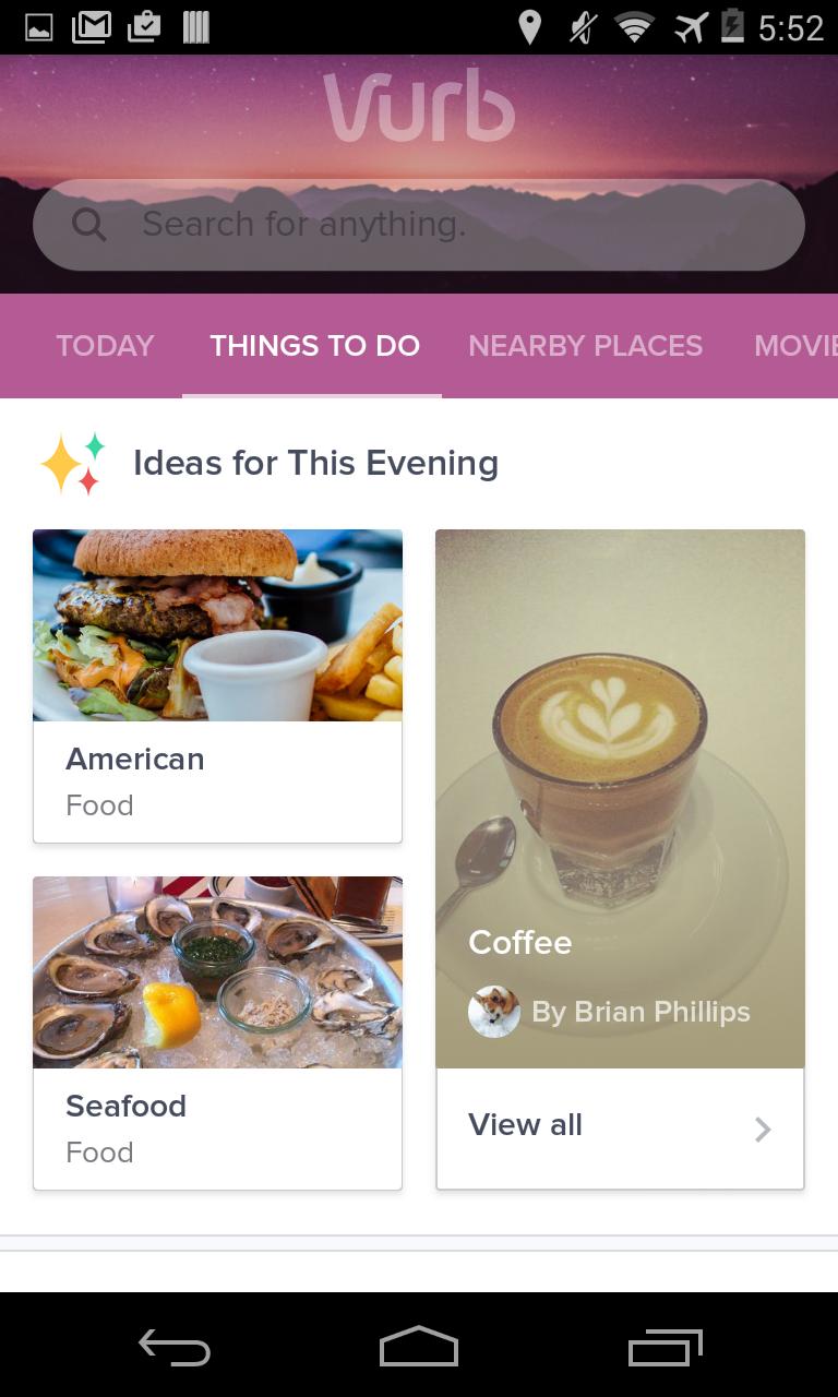 Vurb - Things to Do Tab